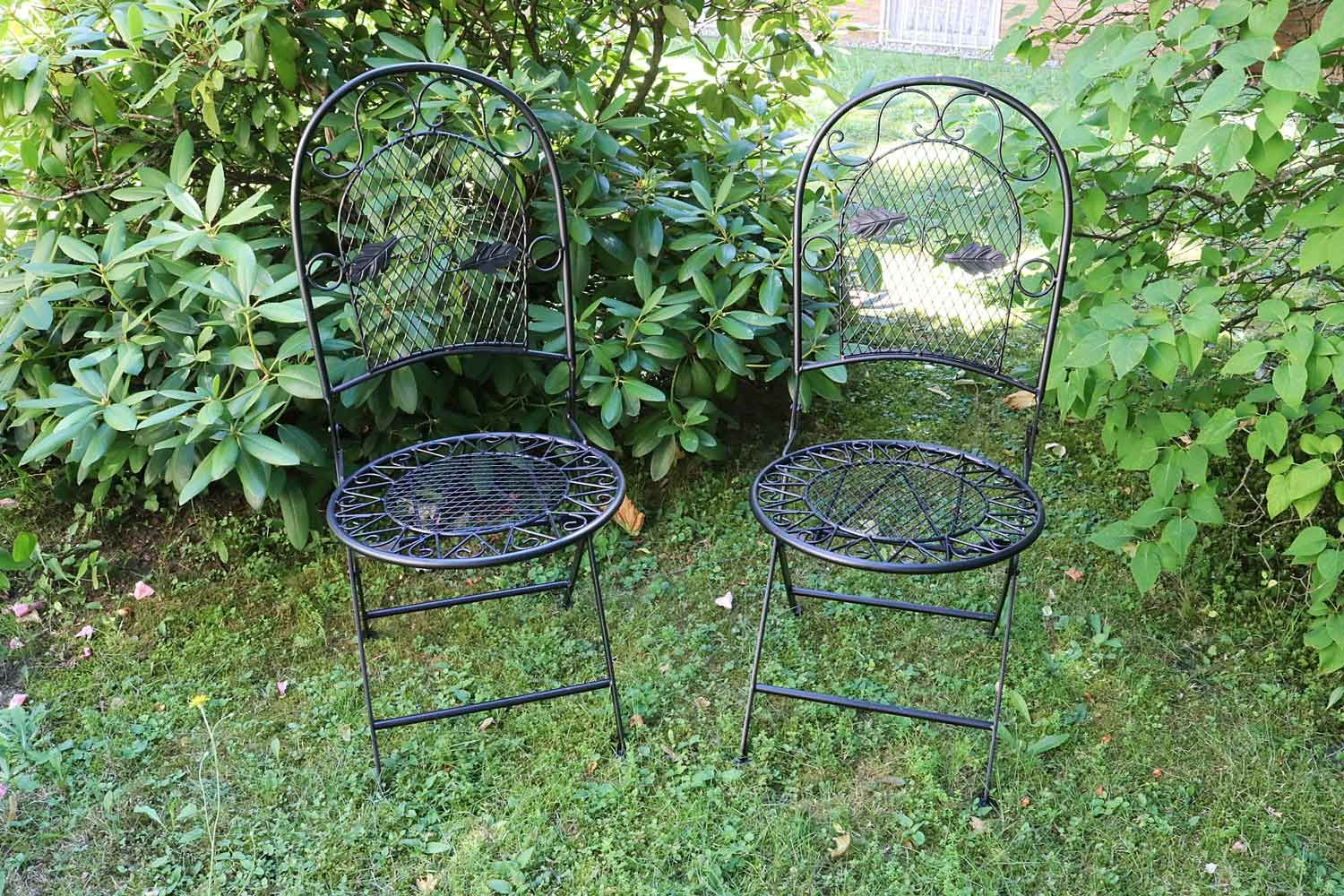 2x gartenstuhl eisen stuhl klappstuhl antik stil metall schwarz bistro garten ebay. Black Bedroom Furniture Sets. Home Design Ideas
