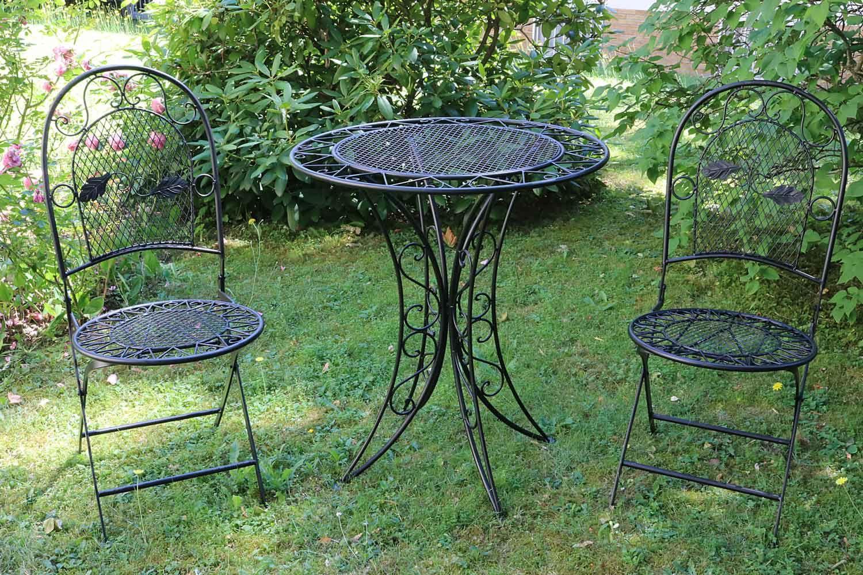 Muebles de jard n mesa de jard n dos sillas metal negro for Muebles de jardin de hierro