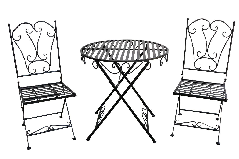 gartenset tisch 2 x stuhl metall antik stil garten garnitur bistro schwarz a ebay. Black Bedroom Furniture Sets. Home Design Ideas
