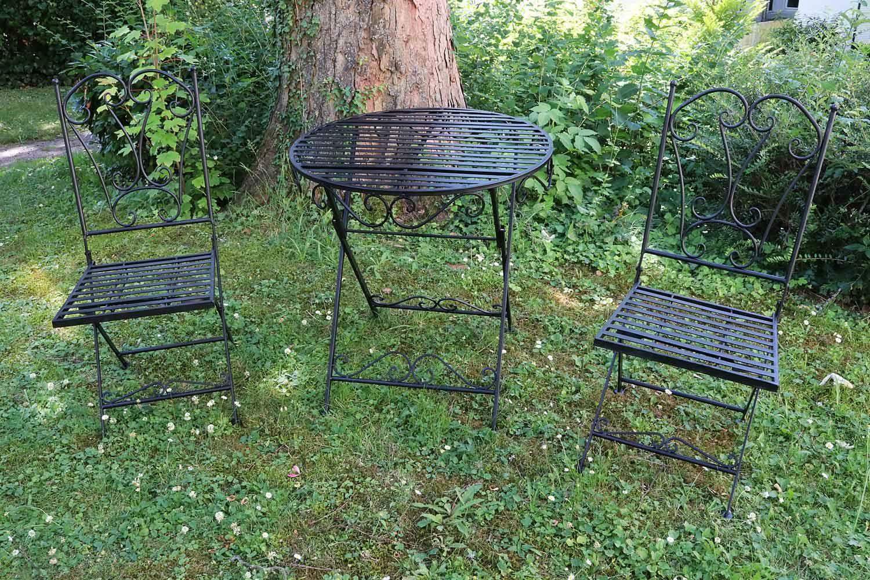 Détails sur Salon de jardin 1 table et 2 chaises fer style antique métal  noir (a)