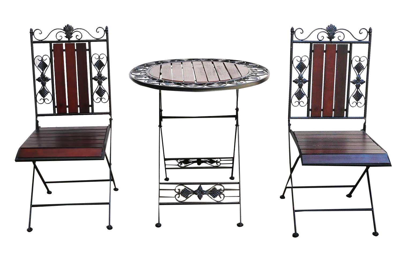gartenset tisch 2 x stuhl metall antik stil garten garnitur bistro holz ebay. Black Bedroom Furniture Sets. Home Design Ideas