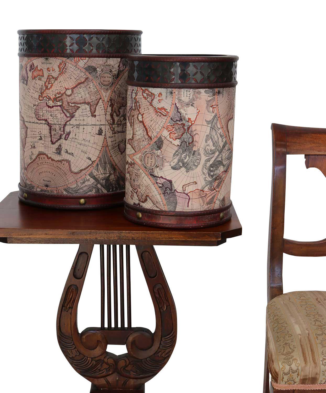 2x papierkorb m lleimer eimer holz antik stil weltkarte beh lter abfalleimer ebay. Black Bedroom Furniture Sets. Home Design Ideas