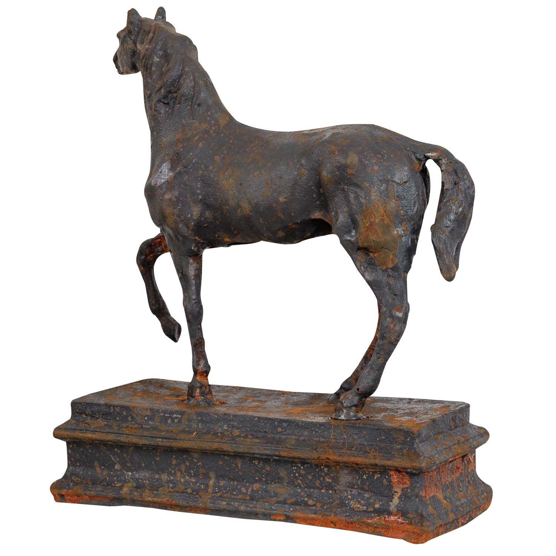 Old Garden Statue: Garden Figure Right Sculpture Statue Horse Garden Iron