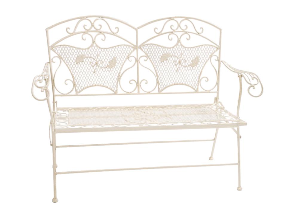 gartenbank eisen 25kg sehr stabil klappbar bank gartenm bel antik stil weiss ebay. Black Bedroom Furniture Sets. Home Design Ideas