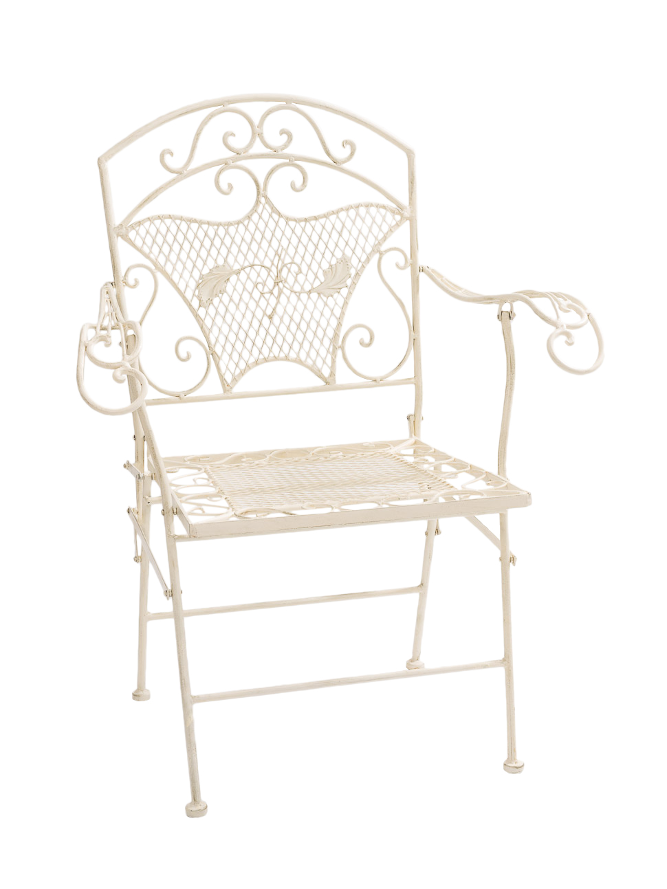nostalgie gartensessel stuhl sessel eisen klappstuhl antik stil creme weiss ebay. Black Bedroom Furniture Sets. Home Design Ideas