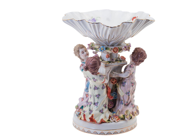 Porzellan Schale Anbietschale Kinder Mädchen Bemalt Verziert antik Stil