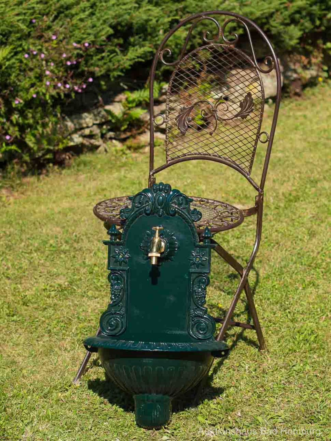 fontaine murale de jardin avec vasque style antique aluminium vert ebay. Black Bedroom Furniture Sets. Home Design Ideas