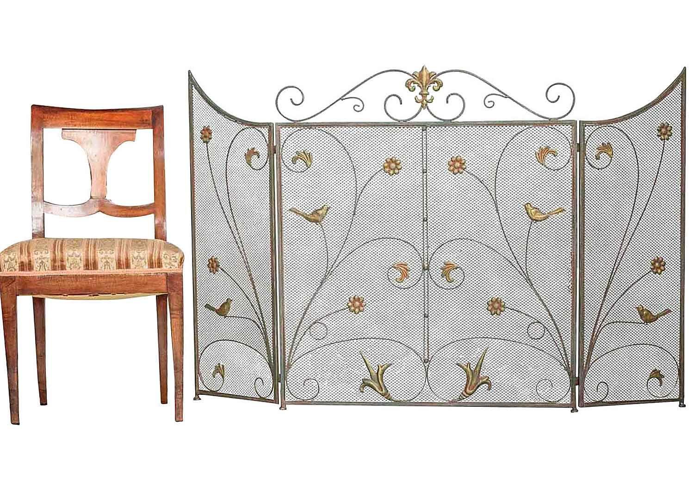 kamin funkenschutz fleur de lis metall kamingitter eisen kaminschutz antik stil ebay. Black Bedroom Furniture Sets. Home Design Ideas